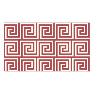 Marsala and White Greek Key Pattern Business Cards