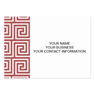 Marsala and White Greek Key Pattern Business Card Templates