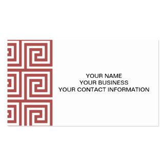 Marsala and White Greek Key Pattern Pack Of Standard Business Cards