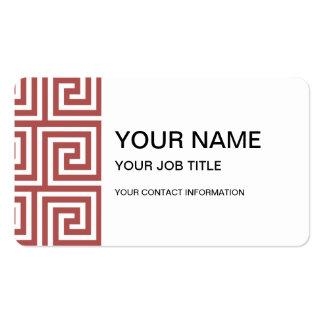 Marsala and White Greek Key Pattern Business Card