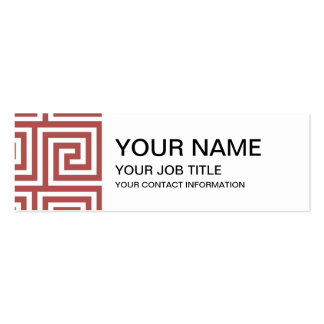 Marsala and White Greek Key Pattern Pack Of Skinny Business Cards