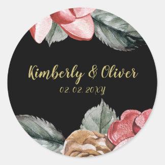 Marsala Black Floral Wedding Invitation Classic Round Sticker