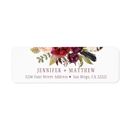 Marsala Boho Floral Greenery Return Address | Return Address Label
