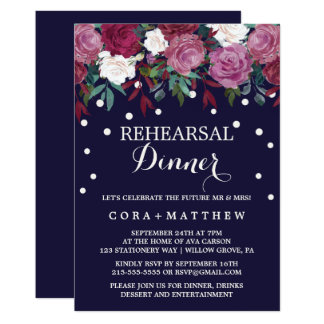 Marsala & Burgundy Floral on Navy Rehearsal Dinner Card
