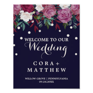 Marsala & Burgundy Floral on Navy Wedding Welcome Poster