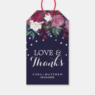 Marsala & Burgundy on Navy Love & Thanks Wedding Gift Tags