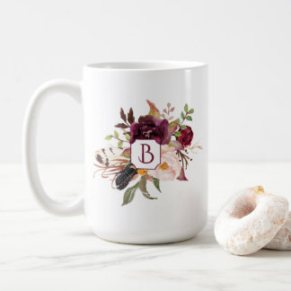 Marsala Burgundy Red Pink Boho Feathers Monogram | Coffee Mug
