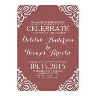 "Marsala Damask Filigree Elegant Wedding Invitation 5"" X 7"" Invitation Card"
