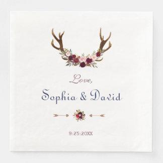 Marsala Floral Antlers Navy Blue Fall Wedding Paper Napkins