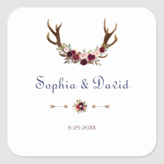 Marsala Floral Antlers Navy Blue Fall  Wedding Square Sticker