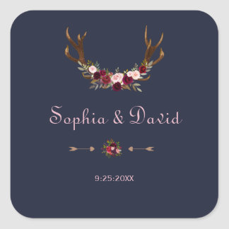 Marsala Floral Antlers Navy Blue Winter Wedding Square Sticker