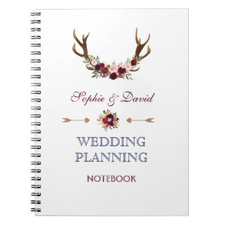 Marsala Floral Antlers Navy Wedding Planner Notebook