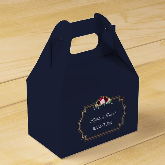 Marsala Floral Gold Navy Blue Fall Wedding Favour Box
