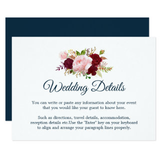 Marsala Floral - Marine Blue Wedding Details Card