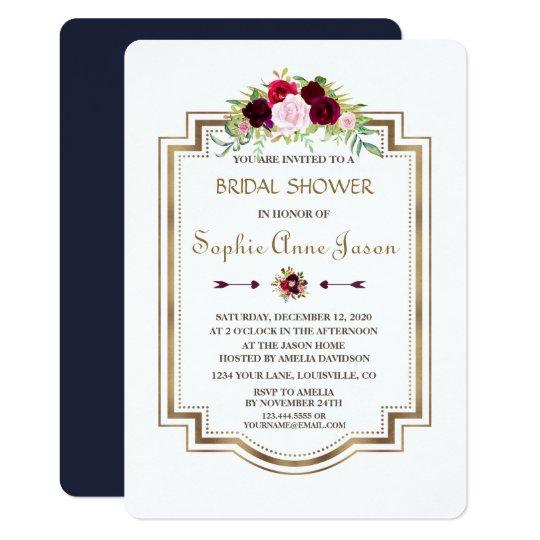 Marsala Floral Navy Blue Gold Fall Bridal Shower Card