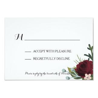 Marsala Floral Winter Wedding RSVP Card