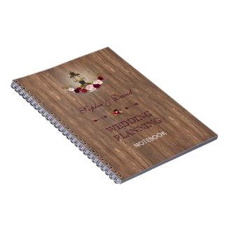 Marsala Floral Wood Old Lantern Wedding Planner Spiral Notebook