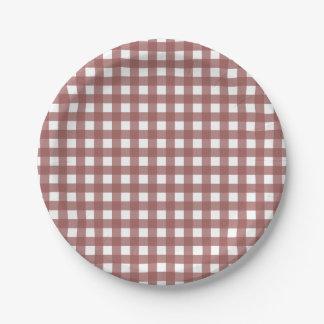 Marsala Gingham Pattern Paper Plate