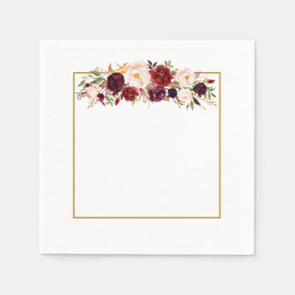 Marsala Gold Square Flower Monogram Wedding Napkin Disposable Napkin