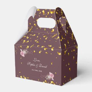 Marsala Maroon Floral Gold Confetti Wedding Favour Box