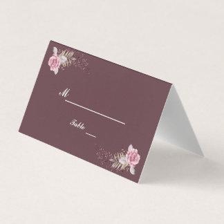 Marsala Maroon Floral Watercolor Wedding Card