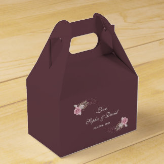 Marsala Maroon Floral Watercolor Wedding Favour Box