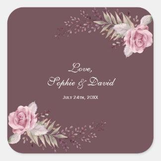 Marsala Maroon Floral Watercolor Wedding Square Sticker