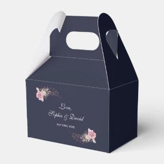 Marsala Maroon Navy Floral Watercolor Wedding Favour Box