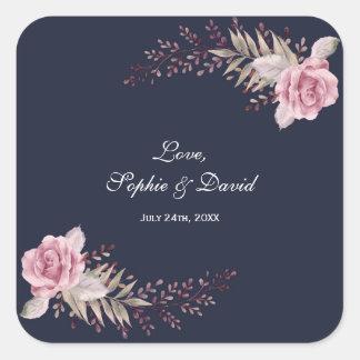 Marsala Maroon Navy Floral Watercolor Wedding Square Sticker