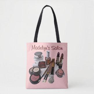 Marsala Pastel Pink Beauty Salon Makeup Products Tote Bag