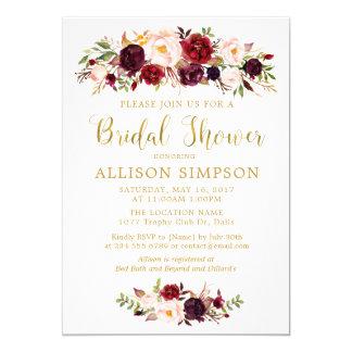 Marsala Red Autumn Gold BridalShower Invitations