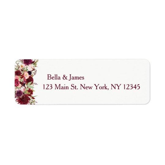 Marsala Red Burgundy Floral Return Address Labels
