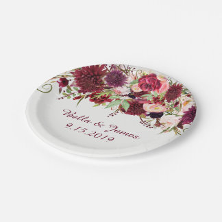 Marsala Red Burgundy Floral Wedding Paper Plate