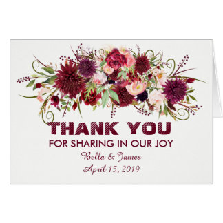 Marsala Red Burgundy Floral Wedding Thank You Card