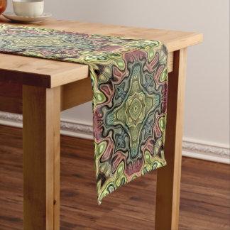 Marsala Red Ochre Yellow Teal Hip Ornate Art Motif Medium Table Runner