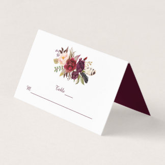 Marsala Red White Roses Boho Feathers Place Cards