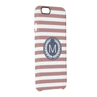 Marsala Stripe with Navy Laurel Wreath Monogram Clear iPhone 6/6S Case