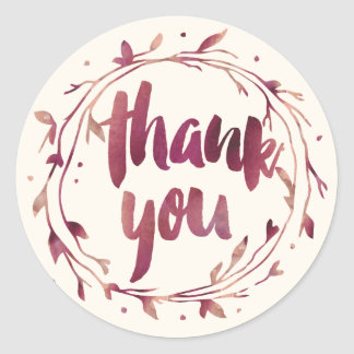 Marsala Watercolor Thank You Favor Stickers