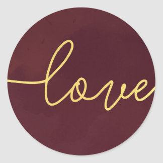 Marsala Wedding Invitation Stickers, Wine Colored Classic Round Sticker