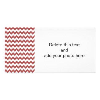 Marsala White Chevron Pattern Photo Greeting Card
