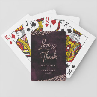 Marsala Wine & Rose Gold Confetti Wedding Favor Playing Cards