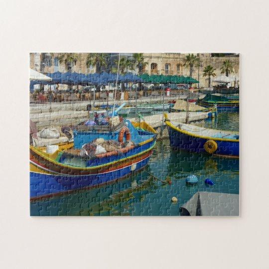 Marsaxlokk painted boats jigsaw puzzle