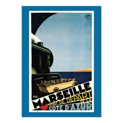 Marseille/Cote d'Azur Vintage Travel Poster Announcements