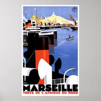 Marseille Porte De L' Afrique Vintage Ship Ad Poster