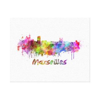 Marseille skyline in watercolor canvas print