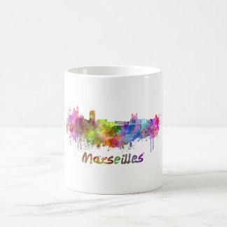 Marseille skyline in watercolor coffee mug