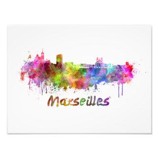 Marseille skyline in watercolor photo print