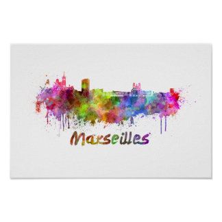 Marseille skyline in watercolor poster