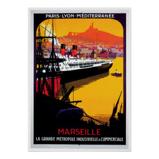 Marseille Vintage Ship Advertisement Poster