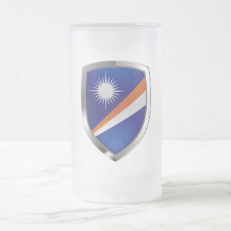 Marshall Islands Metallic Emblem Frosted Glass Beer Mug